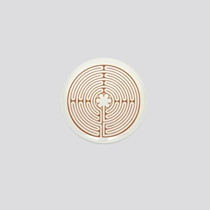 Brown Chartres Labyrinth Mini Button