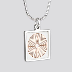 Brown Chartres Labyrinth Silver Square Necklace