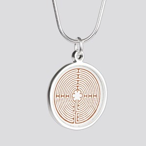 Brown Chartres Labyrinth Silver Round Necklace