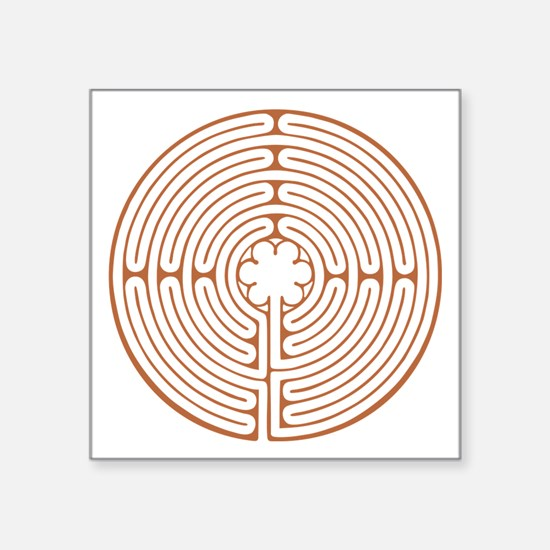 """Brown Chartres Labyrinth Square Sticker 3"""" x 3"""""""