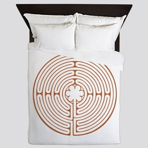 Brown Chartres Labyrinth Queen Duvet