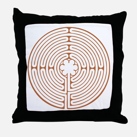 Brown Chartres Labyrinth Throw Pillow