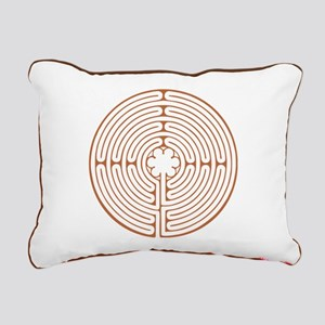 Brown Chartres Labyrinth Rectangular Canvas Pillow