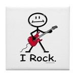 I Rock Stick Figure Tile Coaster