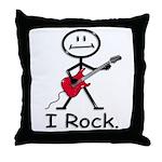 I Rock Stick Figure Throw Pillow