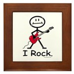 I Rock Stick Figure Framed Tile