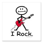 I Rock Stick Figure Square Car Magnet 3