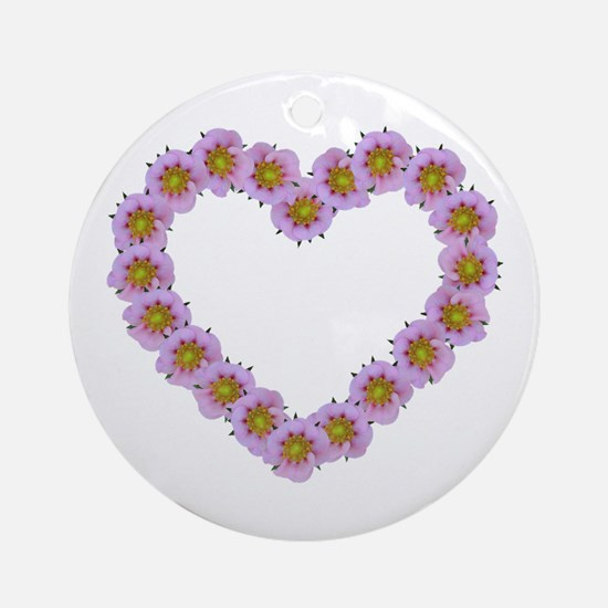 Pink Flower Heart Ornament (Round)