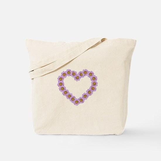 Pink Flower Heart Tote Bag