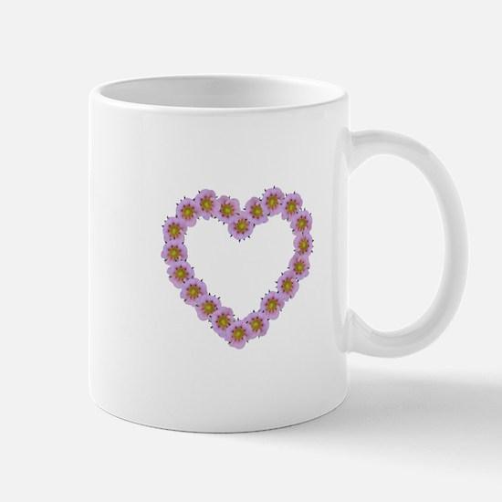 Pink Flower Heart Mugs