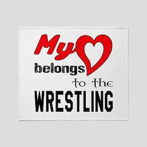 My Heart belongs to the Wrestling Throw Blanket