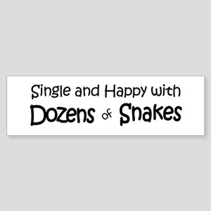Single & Happy With Snakes Bumper Sticker