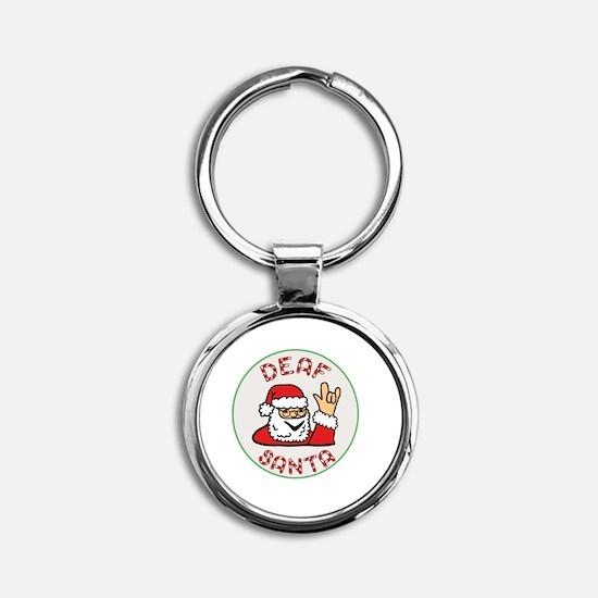 Deaf Santa Round Keychain