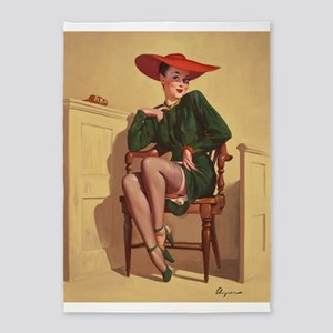 Pinup Girl In The Courtroom 5'x7'area Rug