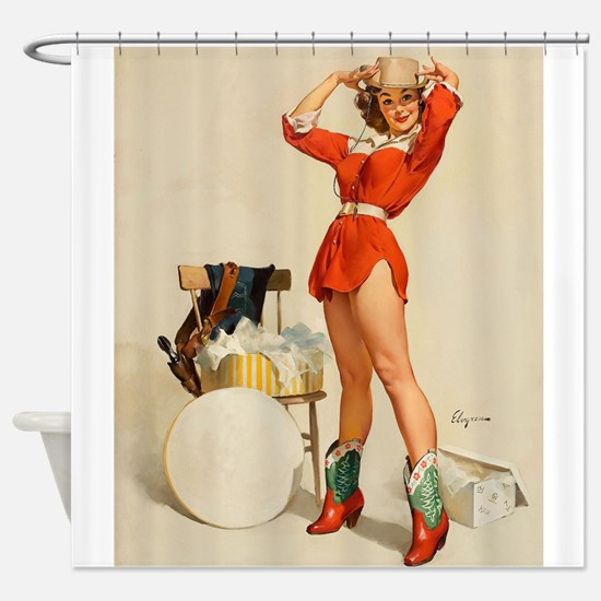 Pinup Girl In Western Wear Shower Curtain