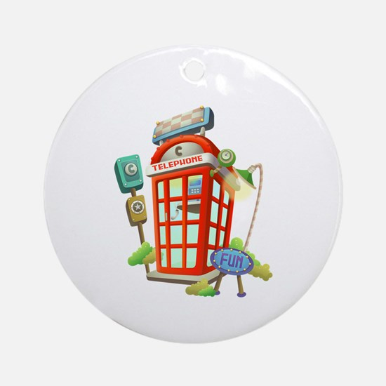 Toy Telephone Booth Ornament (Round)