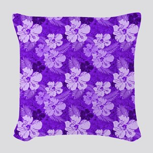 Hibiscus Purple Flowers Woven Throw Pillow