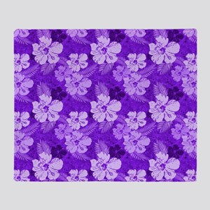 Hibiscus Purple Flowers Throw Blanket