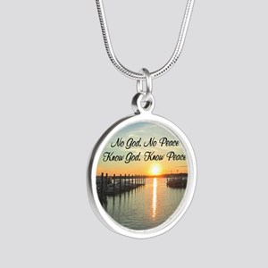 GOD IS PEACE Silver Round Necklace