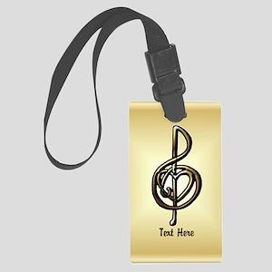 Treble Clef Music Gold Customiza Large Luggage Tag