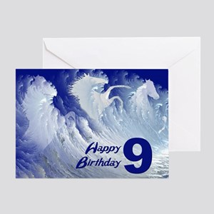 9th birthday, wild white surf horses Greeting Card