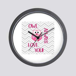 Owl Always Love You in Pink Wall Clock