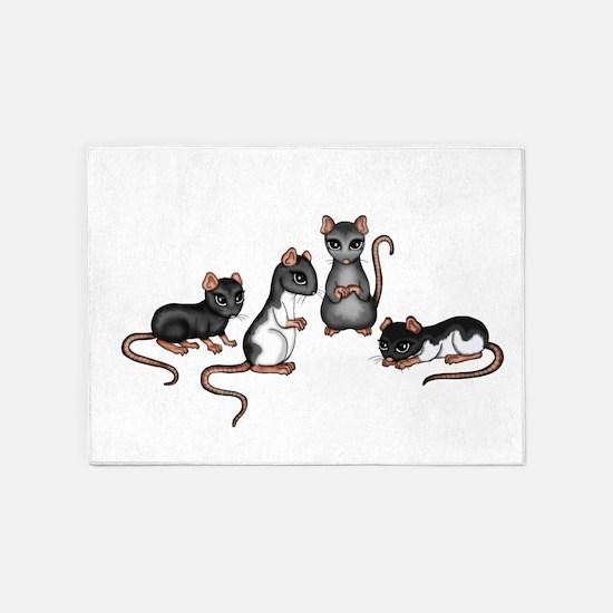 cute rats 5'x7'Area Rug