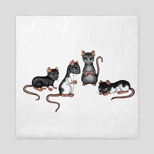 cute rats Queen Duvet