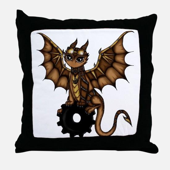 Steampunk Dragon Throw Pillow