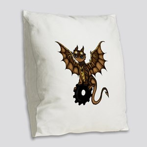 Steampunk Dragon Burlap Throw Pillow