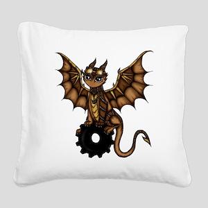 Steampunk Dragon Square Canvas Pillow