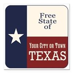 Free State of Texas Square Car Magnet 3