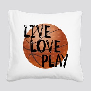 Live, Love, Play - Basketball Square Canvas Pillow