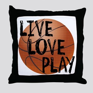 Live, Love, Play - Basketball Throw Pillow
