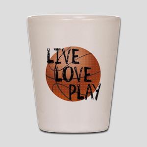 Live, Love, Play - Basketball Shot Glass