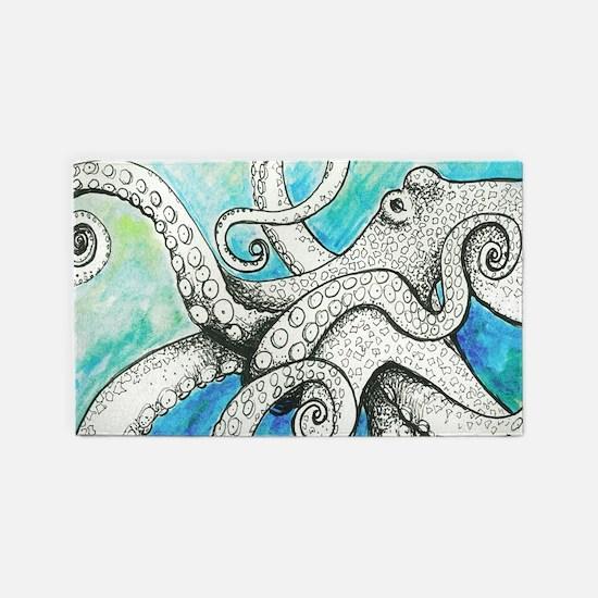 Wild Blue Octopus 3'x5' Area Rug