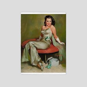 Pinup Girl; Captivating, Vintage Art 5'x7'area Rug
