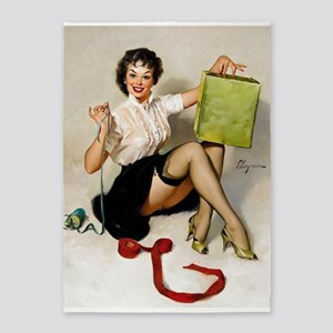 Pinup Girl; Gift Wrapper, Vintage 5'x7'area Rug