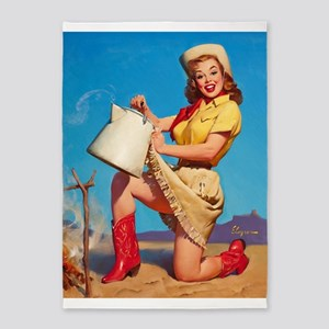 Pinup Girl With Kettle, Vintage Art 5'x7'area Rug