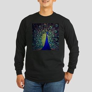 Cobalt Blue Peacock Long Sleeve T-Shirt