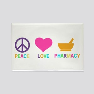 Peace love Pharmacy Rectangle Magnet