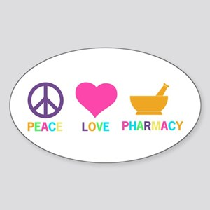 Peace love Pharmacy Sticker (Oval)