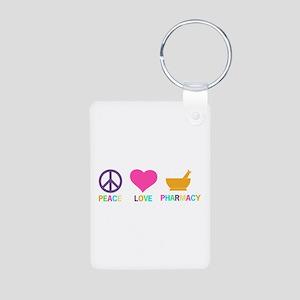 Peace love Pharmacy Aluminum Photo Keychain
