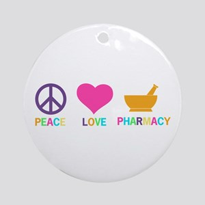 Peace love Pharmacy Round Ornament