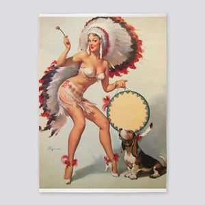 Pinup Girl Indian And Drum, Vintage 5'x7'area Rug
