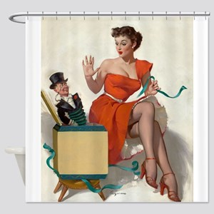 Pinup Girl And Jack In A Box, Shower Curtain