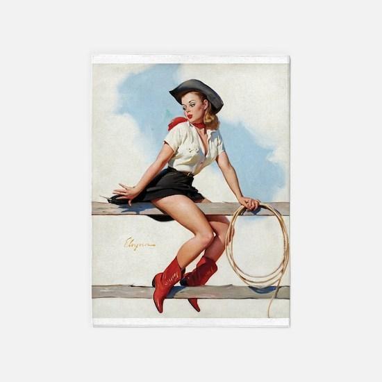 Pinup Girl Cowgirl, Vintage Art 5'x7'area Rug