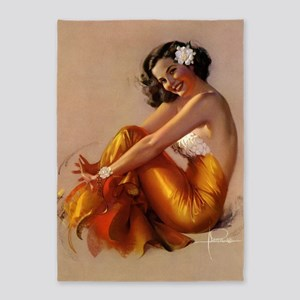 Pinup Girl With Gardenia, Vintage 5'x7'area Rug