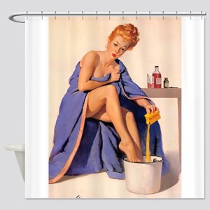 Pinup Girl, Home Remedy; Vintage Shower Curtain