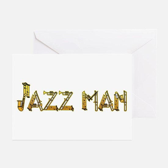 Jazz man sax saxophone Greeting Cards (Package of